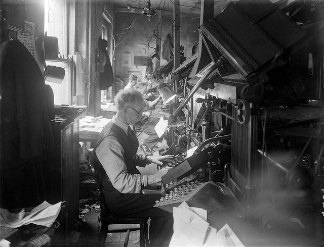 Typesetters working  linotype machines Waterford News