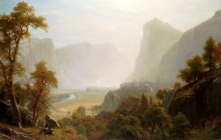 """Image: Albert Bierstadt: """"Hetch Hetchy Valley from Road"""", oil, undated c.1870. Link Here."""